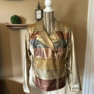 G.I.L.I Novelty Faux Leather Striped Jacket